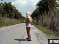 Blonde bombshell Brandi Bae stranded and fucked for a ride