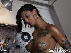 Inked latina buttfucked before tasting cum