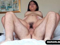 Thick Asian Gets Her Pussy Fucked And Filled With Creampie