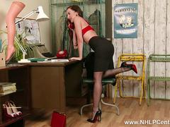 Brunette Sophia Smith takes customer service to next level on phone in retro lingerie nylon heels