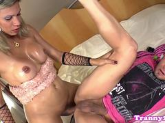 Busty latin tgirl barebacks guy before facial