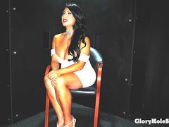 Raven Hart in a gloryhole booth giving blowjobs to strangers and swallowing cum