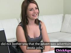 Blonde female agent teaches client to pose