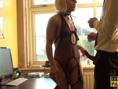 British fishnet sub dominated with roughsex