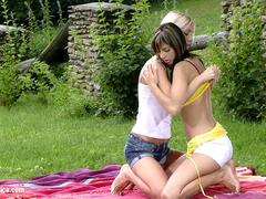 Playful Picnickers by Sapphic Erotica - lesbian love porn with Mellie - Camie
