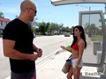 Hot Latina waiting bus in bikini top