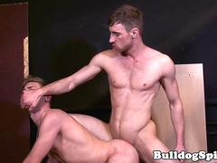 Throated submissive hunk spreads ass for cock