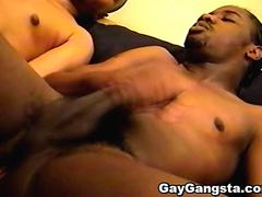 Deep throat cock sucking with hot ebony gays