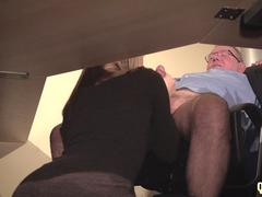 Secretary caught coworker sucking old boss under desk