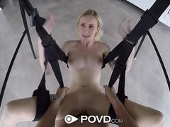 POVD Big dick sex swing fuck and facial with blonde Peyton Coast