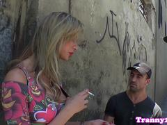 Busty tranny spitroasted deeply by her lovers