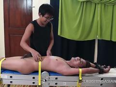 Asian Boy Gilbert Bound and Tickled