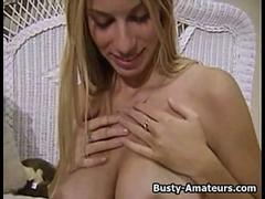 Busty amateur Mary masturbates after hot interview