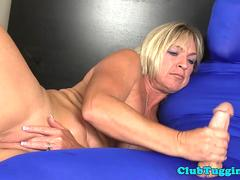 Handjob mature teasing her submissive lover