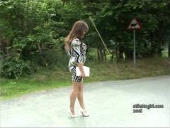 Curvy brunette Penny gets all shoe fetishist off with her high stiletto heels and shapely nylon legs