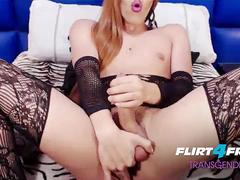 Selena Thomas - Flirt4Free Transgender Model - Tranny Jerks Off on Dildo then Slides in Her Ass