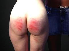Slim girl caned