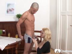 Blonde woman with big tits is pleasing
