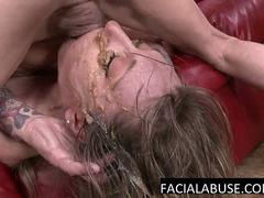 Skinny MILF mouth fucked to suck
