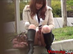 Asians masturbate outside