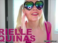 Pigtailed blonde Arielle Aquinas deepthroating