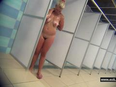Sexy milfs in a public shower room