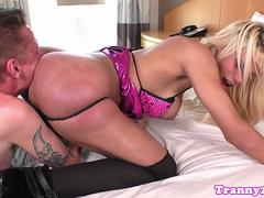 Tittyfucked tranny rimmed on all fours