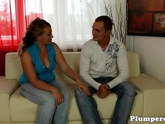 Cougar BBW seduces young guy on the sofa
