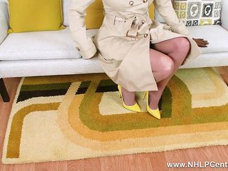 Blonde Milf Holly Kiss loves flashing and wanking in her sheer nylons heels and retro suspenders
