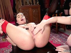 Hairy lesbian made squirt in upper floor