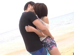 Saya Tachibana sex at the beach with a younger guy  - More at Japanesemamas.com