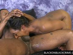 BBC roughs her black throat and pussy