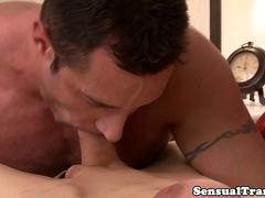 Shorthair bigtitted TS analized by hunky boss