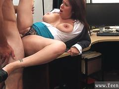 Teen takes monster cock and french mature brunette xxx MILF sells her husbands stuff for