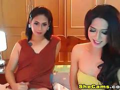 Shemale couple dancing and stripteasing show live on cam