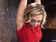 Busty blonde nipples tormented in hogtie
