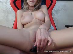 Chesty cam model using ass plug and squirting