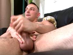 Young army stud pleasuring his hard dick