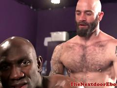 Buff interracial threesome assfucking in bar