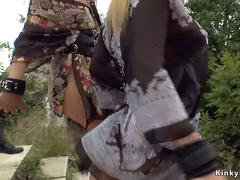 Curved sluts made pissing in public