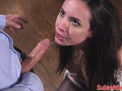 Tiedup sub gets gagged and toyed by dom