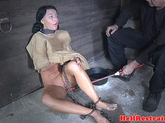 Blindfolded and bound milf gets dominated