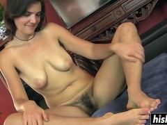 Katie plays with her hairy pussy