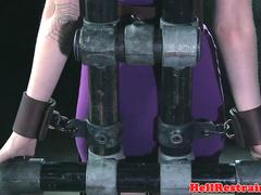 Gagged and restrained beauty gets dominated
