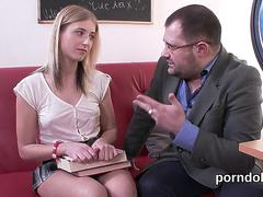 Kissable college girl is seduced and poked by senior teacher