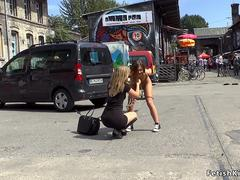 German brunette pissed in public lezdom