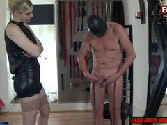 Rough CBT torture with amateur slave and brutal german femdom domina at home