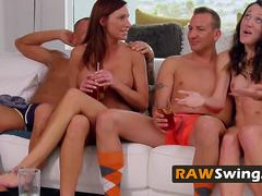 Beach partying swingers swapping partners