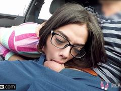 Real Teens - Petite teen POV public blowjob