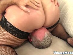 Busty plumper sixtynining with her lover